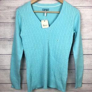 V G.H. Bass Sweater Light Blue V-Neck Knit